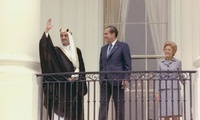 Arrival ceremony welcoming King Faisal of Saudi Arabia, 27 May 1971. Pictured left to right: King Faisal Ibn Abd Al-Aziz of Saudi Arabia, President Nixon, and Mrs. Nixon.