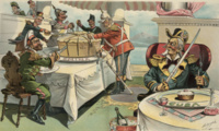 """No chance to criticize."" Uncle Sam sits at a table on which is a small cake on a platter labeled ""Cuba,"" with a decanter labeled ""Philippine Islands"" on the table and a bottle labeled ""Porto Rico"" in an ice bucket. On the left, John Bull (Britain) and other colonial powers hold swords slicing a large cake on a platter labeled ""China."" John Bull (to the Powers): ""What are you mad about? We can't grudge him a light lunch while we are feasting!"""