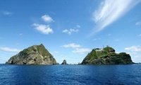 "The Liancourt Rocks, known as Dokdo (or Tokto,  literally ""solitary island"") in Korean, as Takeshima (literally ""bamboo island"") in Japanese."