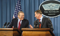 Donald H. Rumsfeld and Russian Defense Minister Sergey Borisovich Ivanov fielded questions from the press on issues ranging from the elections in Iraq to export controls on sensitive weapons systems.