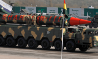 A Pakistani-made Shaheen-III missile, that is capable of carrying nuclear warheads, is on display during a military parade to mark Pakistan's Republic Day, in Islamabad, Pakistan, Thursday, March 23, 2017.