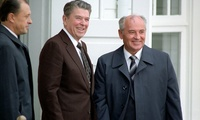 U.S President Reagan and Soviet General Secretary Gorbachev at the Hofdi House in Reykjavik, Iceland, during the Reykjavik Summit, 11 October 1986.