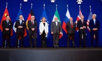 Secretary of State Kerry, Iranian Foreign Minister Zarif, and other diplomats from the P5+1 announce the framework agreement on Iran's nuclear program.