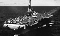 The U.S. Navy aircraft carrier USS Lexington (CVA-16) underway in the Western Pacific, with Carrier Air Group 21 (CVG-21), on 16 August 1958. Just 8 days later, on 24 August, Communist Chinese artillery began shelling the Nationalist Chinese islands of Quemoy and Matsu, prompting the Blue Ghost's (as Lexington was called) deployment to the Taiwan Straits at various times during the next 4 months, along with other units of the U.S. Seventh Fleet.