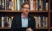 Joel Clement in the Belfer Center library.