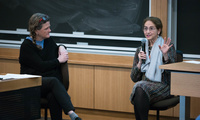 Elizabeth Arnold and Alice Rogoff speak to HKS students and community members about the dire need for a more complete Arctic media narrative on Tuesday, February 27, 2018. (Belfer Center Media Services)