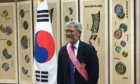 Holdren (above) also received the Gwanghwa Medal, the highest Order of Diplomatic Service Merit, for his support for U.S.–Korea Science and Technology Cooperation as the Director of OSTP (Kazakh Embassy).