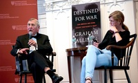 "Graham Allison, joined by Samantha Power, speaks at a launch event for his book ""Destined for War."""