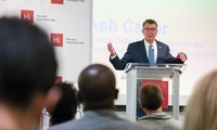 "Belfer Center Director Ash Carter speaks on technological change for good during a HUBweek 2018 ""We the Future"" event at Harvard Innovation Lab in October."