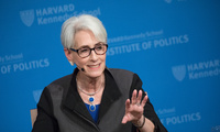 Wendy Sherman, Belfer Center Senior Fellow and forthcoming Director of the Kennedy School's Center for Public Leadership, answers a question from a student during a JFK Jr. Forum focusing on Sherman's career as a diplomat and negotiator.