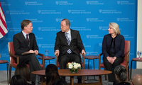 Professor Nicholas Burns, Secretary-General Ban Ki-moon, and Ambassador Susan Thornton at the JFK Jr Forum