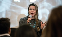 Gabrielle Scrimshaw, a 2018 MPA candidate at the Harvard Kennedy School, whose pitch for an indigenous investment fund was voted the best idea to improve the Arctic by the audience and a panel of judges at an Arctic Innovators event Nov. 15.