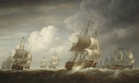 "Painting of ""Ships of the East India Company at Sea"""