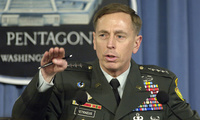 U.S. Army Gen. David H. Petraeus briefs reporters at the Pentagon April 26, 2007