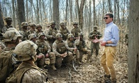 Ash Carter, then Defense Secretary, speaks to Marines participating in a platoon defense demonstration on Marine Corps Base Quantico, Va., on March 9, 2016 (DoD photo by Air Force Senior Master Sgt. Adrian Cadiz).