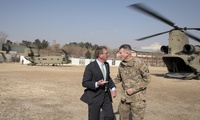 Photo of Secretary of Defense Ash Carter with ARmy Gen. John Nicholson in Afghanistan in 2016.