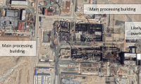 Demonstration reprocessing and mixed-oxide facilities under construction in Gansu Province, China. Satellite image from August 29, 2019.