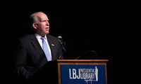 John Breannan gives the keynote speech at a public event at the LBJ Presidential Library on Wednesday, Sept. 16, 2015