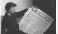 Eleanor Roosevelt presenting the Declaration of Human Rights