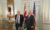 U.S. Secretary of State Rex W. Tillerson and U.K. Foreign Secretary Boris Johnson address reporters in Carlton Gardens, in London, England on January 22, 2018.