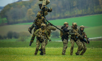 Combined troops from Austria, Belgium, Slovenia, and the United Kingdom take part in the BLACK BLADE 2016 helicopter exercise organized by the European Defense Agency, November 17, 2016