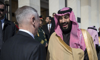Then-Defense Secretary James N. Mattis meets with Saudi Arabia's Crown Prince Mohammed bin Salman at the Pentagon on March 22, 2018.