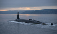 The Ohio-class ballistic missile submarine USS Pennsylvania transits the Hood Canal in Washington.