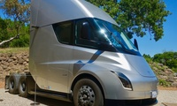 A prototype Tesla Semi truck at Tesla HQ in California, April 22, 2019.