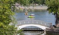 People on paddleboats in Gorky Park in Moscow. July 12, 2018 (Marco Verch/Flickr).