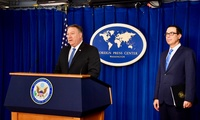 Secretary of State Mike Pompeo and Secretary of the Treasury Steve Mnuchin provide an update on the Trump administration's Iran policy at the Foreign Press Center in Washington, D.C., on November 5, 2018 (State Department via Flickr).