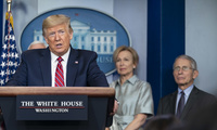 President Donald J. Trump delivers remarks at a press briefing.