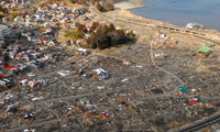 An aerial view of damage to Sukuiso, Japan, on March 18, 2011, a week after a 9.0 magnitude earthquake and subsequent tsunami devastated the area.