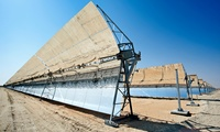 One of the parabolic mirrors arrays at the Shams-1 concentrated solar power plant in the UAE, January 2015.