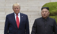 In this June 30, 2019, file photo, President Donald Trump, left, meets with North Korean leader Kim Jong Un at the North Korean side of the border at the village of Panmunjom in Demilitarized Zone.