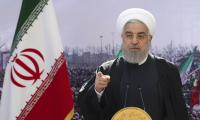 Iranian President Hassan Rouhani addresses the nation in a televised speech in Tehran on Feb. 10, 2021 (Iranian Presidency Office via AP).