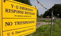 This Aug. 17, 2012, photo shows a sign warns against trespassing onto the Y-12 National Security Complex in Oak Ridge, Tenn.