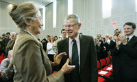 Nobel Laureate Thomas Schelling with his wife, Alice Schelling, as he is recognized for his accomplishments at the University of Maryland, October 10, 2005.