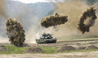 a South Korean army K-1 tank during a South Korea and U.S. joint military exercise against possible North Korean attacks in Paju, near the demilitarized zone on Wednesday, June 8, 2011.  on Wednesday, June 8, 2011.