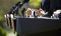 A view of the podiums during a news conference in the Rose Garden at the White House, Monday, April 2, 2012. (AP Photo/Charles Dharapak)