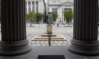 In this August 17, 2010 file photo, a statue of the Albert Gallatin, the 4th Secretary of the Treasury, stands on the north patio of the US Treasury Building in Washington.(AP Photo/Pablo Martinez Monsivais, File)