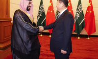 Saudi Arabia Deputy Crown Prince Mohammed bin Salman shakes hands with Chinese President Xi Jinping