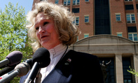 "In this April 20, 2006 photo, Alice Hoagland, whose son Mark Bingham died on United Airline's Flight 93 on September 11, 2001, speaks to reporters in front of U.S. District Court in Alexandria, Va. Congress has allowed Sept. 11 victims to sue Saudi Arabia over claims it had a role in the terror attacks but some judges have questioned the strength of the case. Plaintiffs like Hoagland say just airing their argument in court would be a victory in itself. ""We're less interested in any kind of financial gain th"