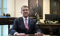 Secretary of Defense Ash Carter is interviewed in his Pentagon office on Wednesday, Jan. 18, 2017. (AP Photo/Cliff Owen)