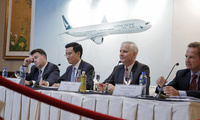 From right, Cathay Pacific Chief Operating Officer Rupert Hogg, Chairman John Slosar, Chief Executive Ivan Chu and Finance Director Martin Murray attend a news conference as they announce the company result in Hong Kong, Wednesday, March 15, 2017. Hong Kong's Cathay Pacific Airways has posted its first annual loss in almost a decade, blaming it on tough competition from rival airlines, slowing Chinese economic growth and a stronger currency. (AP Photo/Kin Cheung)