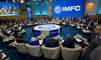 Participants gather for the International Monetary and Financial Committee (IMFC) plenary conference at World Bank/IMF Spring Meetings at IMF headquarters in Washington, Saturday, April 22, 2017. (AP Photo/Jose Luis Magana)