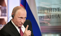 Russian President Vladimir Putin speaks during an interview in Paris, France, Monday, May 29, 2017. In the interview with French newspaper Le Figaro released Tuesday, Putin reaffirmed his strong denial of Russia's involvement in the hacking of Democratic National Committee emails that yielded disclosures that proved embarrassing for Hillary Clinton's campaign. (Alexei Nikolsky/Sputnik, Kremlin Pool Photo via AP)