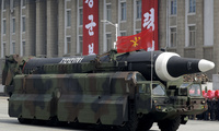North Korean Hwasong-12 ballistic missile is paraded across Kim Il Sung Square in Pyongyang on April 15, 2017. (AP Photo/Wong Maye-E, File)