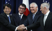 From left, Japanese Defense Minister Itsunori Onodera, Japanese Foreign Minister Taro Kono, Secretary of State Rex Tillerson, and Defense Secretary James Mattis, shake hands