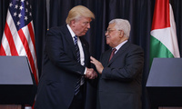 President Donald Trump shakes hands with Palestinian President Mahmoud Abbas after making statements to the press in the West Bank City of Bethlehem on May 23, 2017 (AP Photo/Evan Vucci, File).