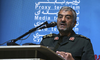 "The head of Iran's paramilitary Revolutionary Guard, Gen. Mohammad Ali Jafari, speaks in a conference called ""A World Without Terror,"" in Tehran, Iran on Oct. 31, 2017. Jafari said that the country's supreme leader has limited the range of ballistic missiles it makes (AP Photo/Vahid Salemi)."